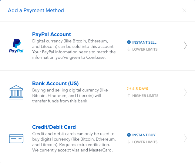 Coinbase Add Payment Method