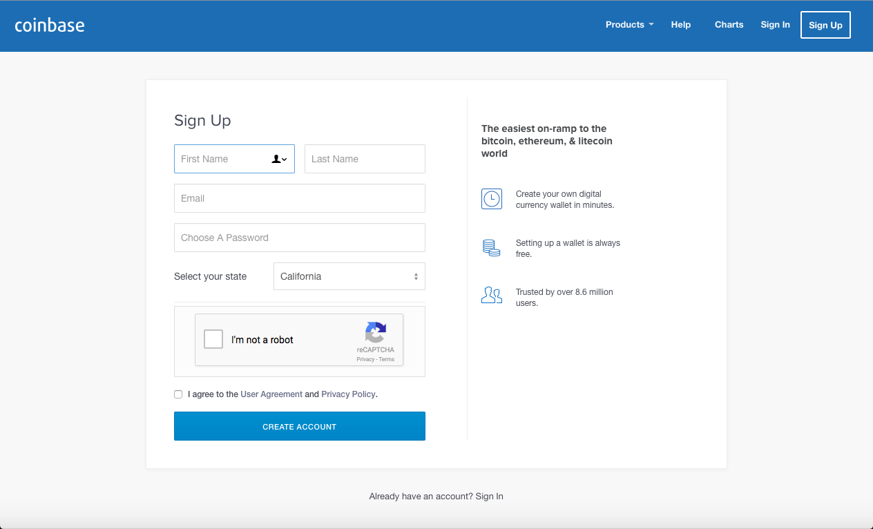 Coinbase Signup Page